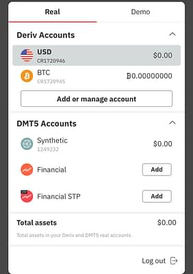 Login id for DMT5 Synthetic accounts
