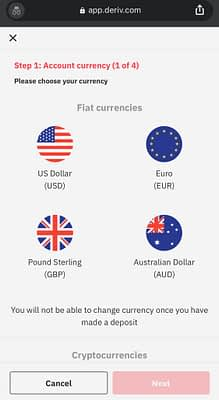 Select Currency when opening a real account on deriv.com